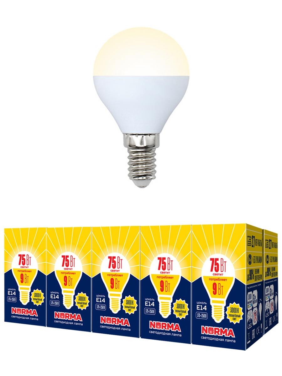 """Лампочка Volpe Комплект из 10 светодиодных ламп LED-G45-9W/WW/E14/FR/NR Форма """"шар"""", матовая. Теплый белый свет (3000K), Теплый свет 9 Вт, Светодиодная"""