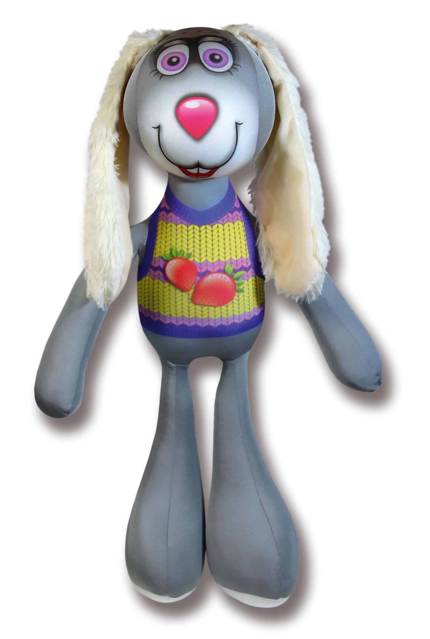 Подушка-игрушка антистрессовая Заяц Роня длинноухий клубничка