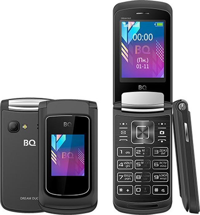 Мобильный телефон BQ 2433 Dream Duo, темно-серый мобильный телефон bq 2433 dream duo черный 2 4 64 мб