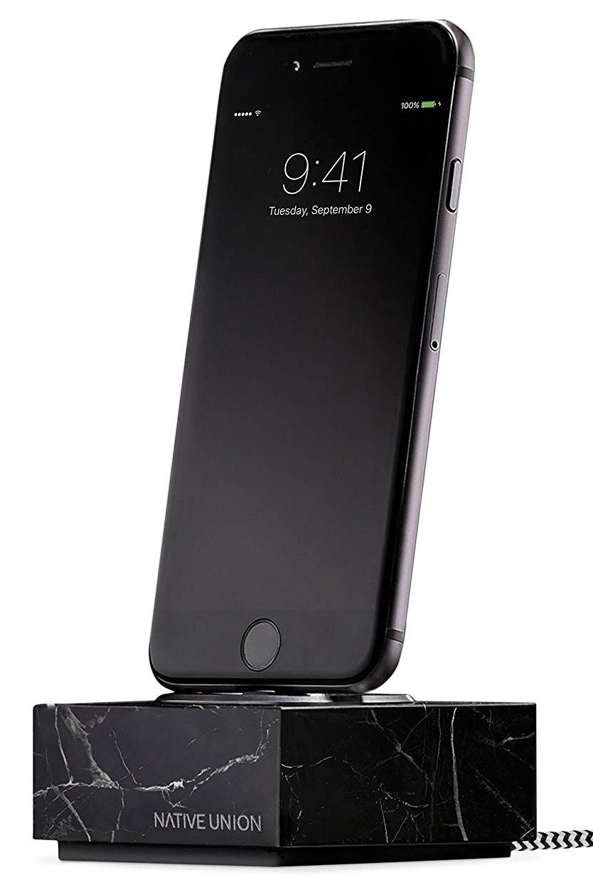 Подставка Native Union Native UniDOCK+ MARBLE IPHONE WITH 1.2M CABLE-BLACK для iPhone, с проводом, мрамор, черная, черный native union dock ip mb blk
