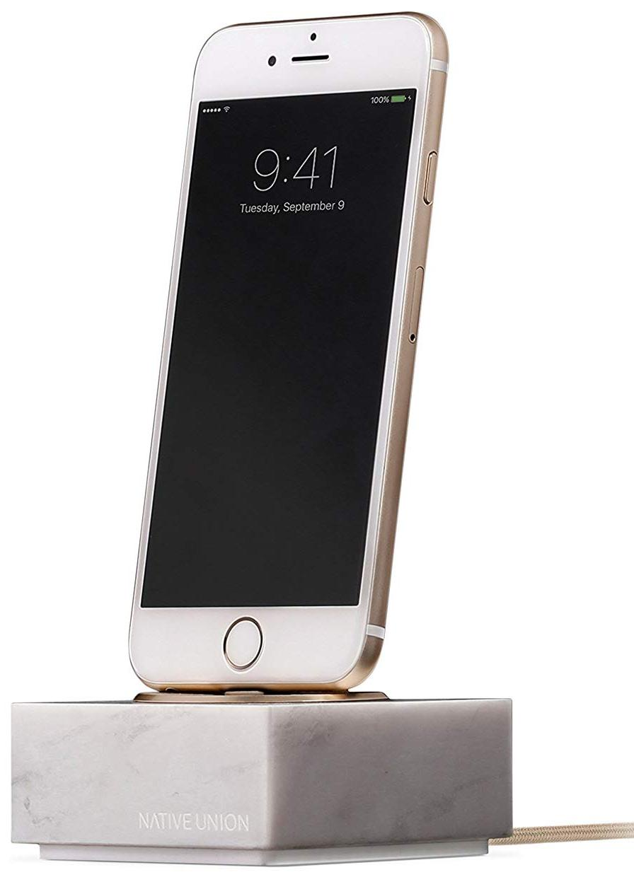 Подставка Native Union Native UniDOCK+ MARBLE IPHONE WITH 1.2M CABLE-BLACK для iPhone с проводом, мрамор, белый native union dock ip mb blk