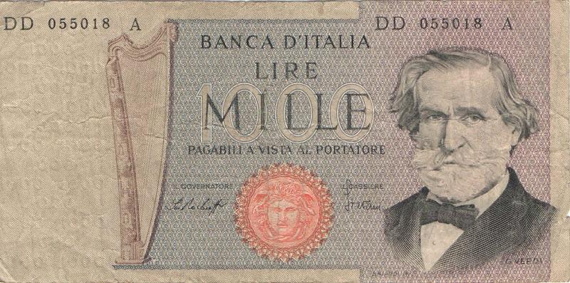 Банкнота номиналом 1000 лир. Италия. 1969-1981 года
