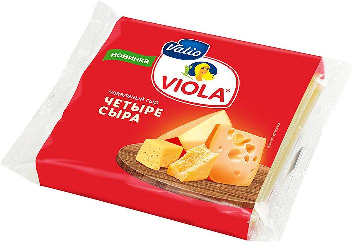 Сыр Valio Viola Четыре сыра, плавленый, в ломтиках, 140 г valio viola сыр с лисичками плавленый 400 г