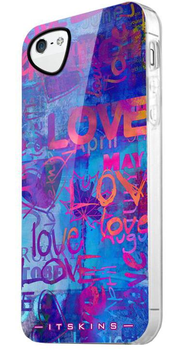Чехол для сотового телефона Itskins Phantom Rainbow для iPhone 5/5s с защ.пленкой, синий magnetic wallet stand leather case with imprint butterfly flower for iphone 5 5s se blue