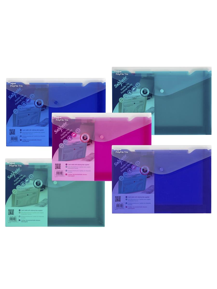 Папка Snopake 14967P, синий, зеленый, розовый, бирюзовый, фиолетовый