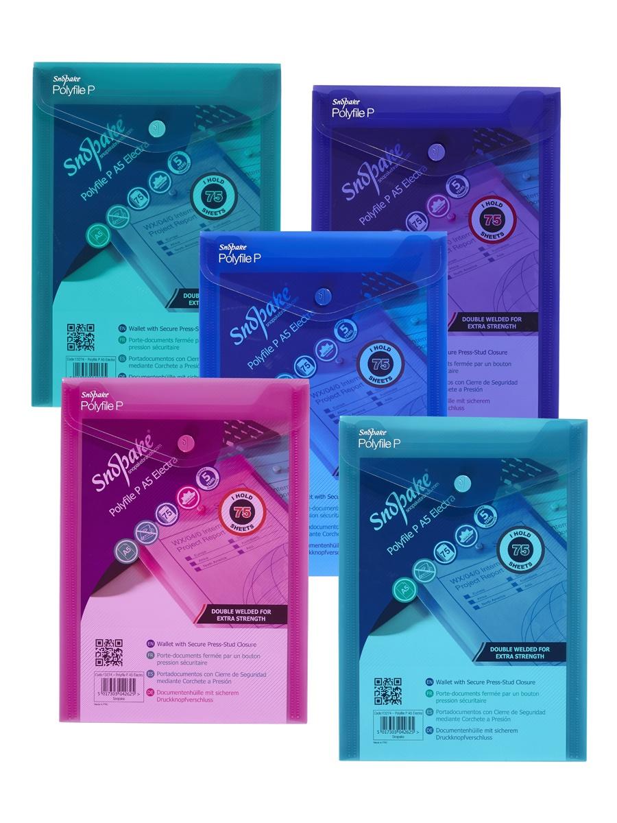 Папка Snopake 13274P, синий, розовый, фиолетовый, зеленый