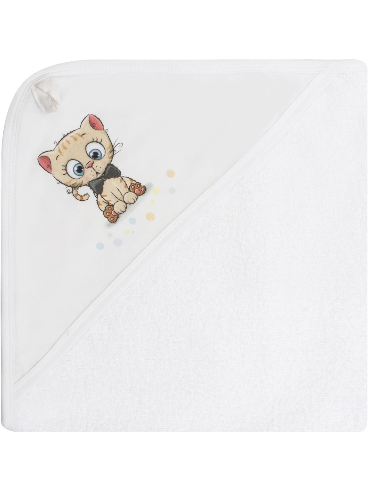 Полотенце детское Luxury Baby Полотенце с уголком и принтом Котик, белый полотенца bebitof baby детское банное полотенце с уголком bbtf 3208 93х83
