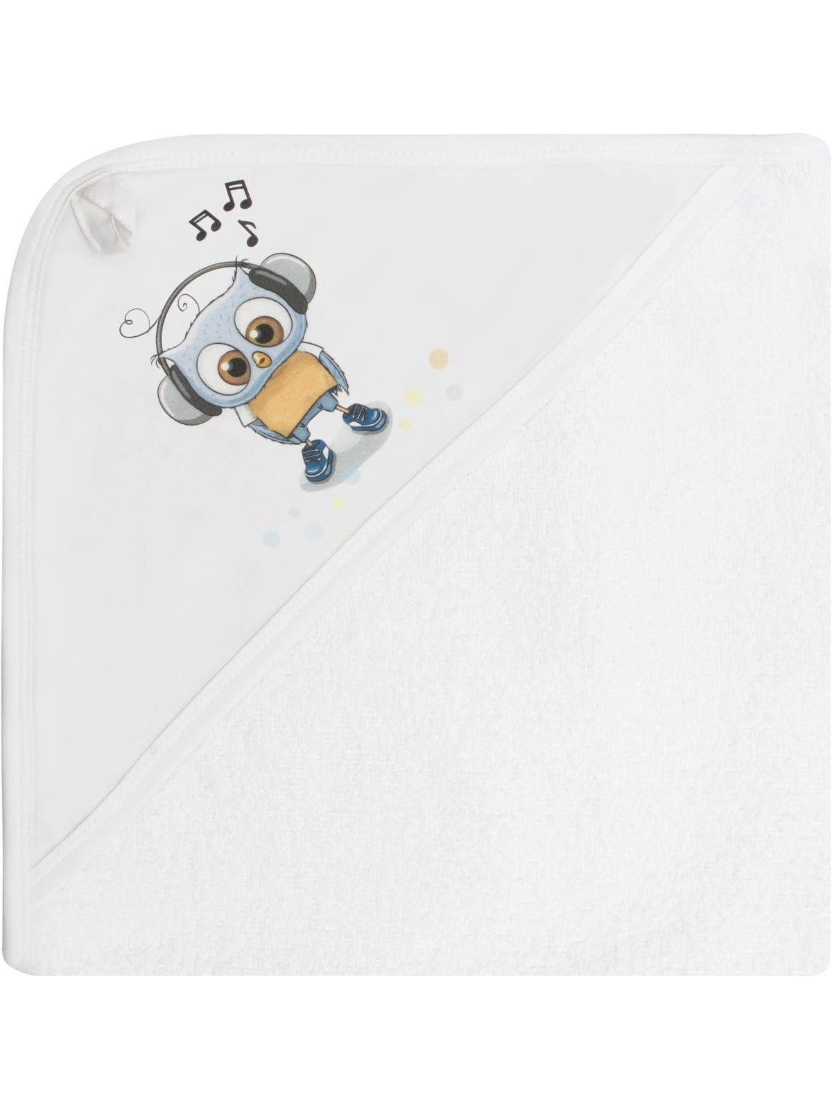 Полотенце детское Luxury Baby Полотенце с уголком и принтом Совенок, белый полотенца bebitof baby детское банное полотенце с уголком bbtf 3208 93х83