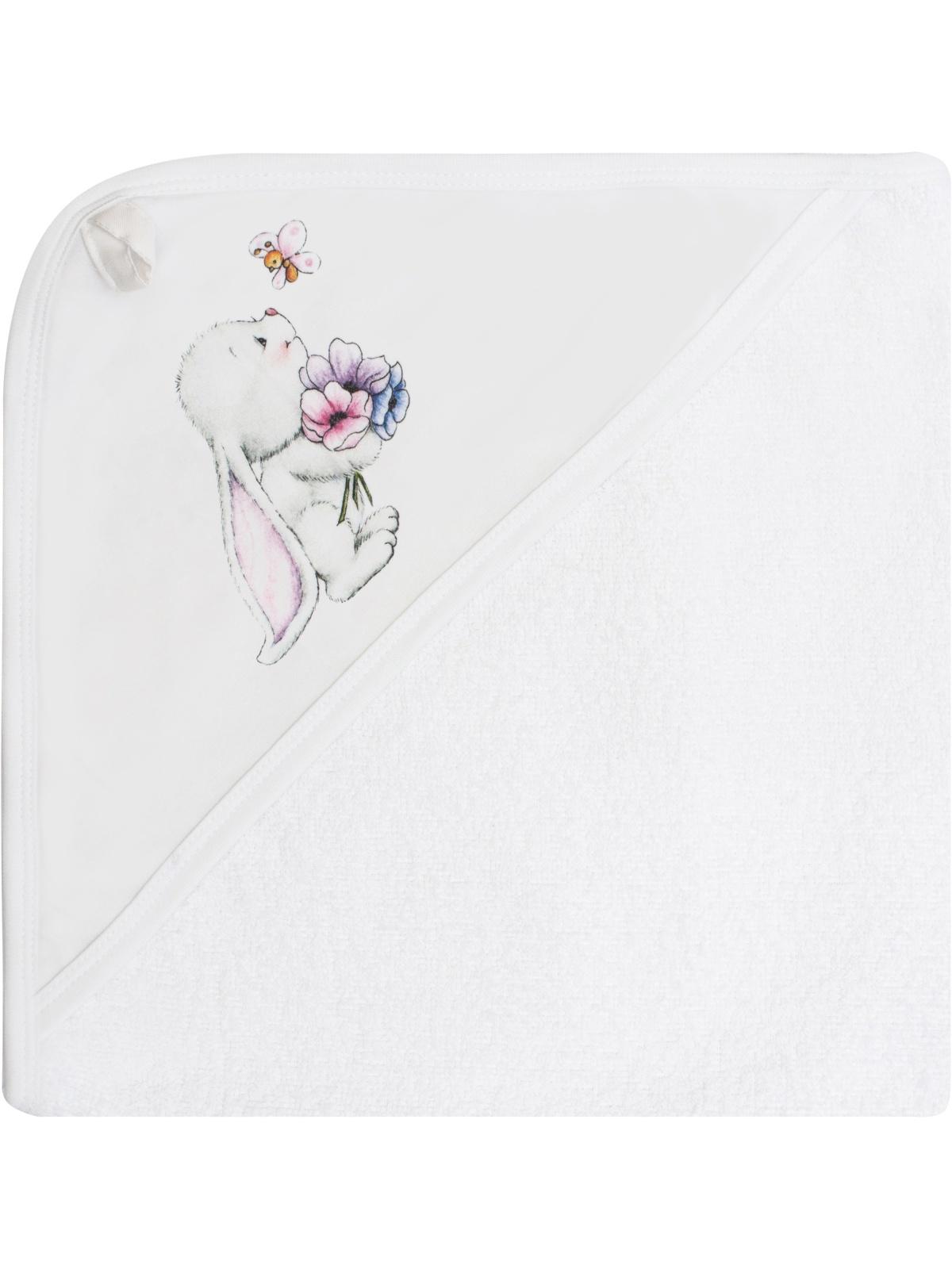 Полотенце детское Luxury Baby Полотенце с уголком и принтом Зайчонок, белый полотенца bebitof baby детское банное полотенце с уголком bbtf 3208 93х83