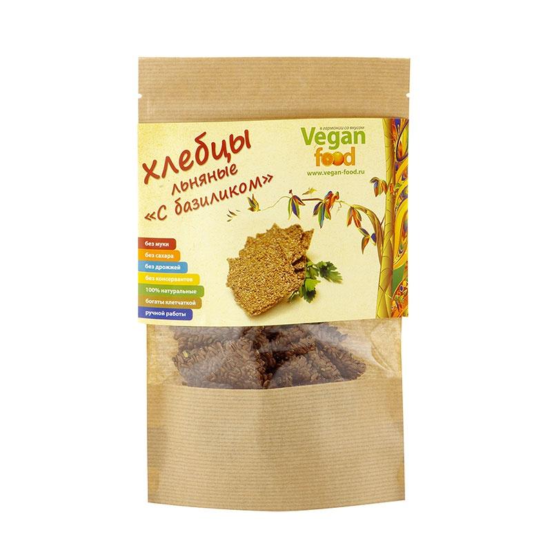 Хлебцы льняные Vegan food c базиликом, 100 г balis vegan лимонад с базиликом и имбирем 250 мл