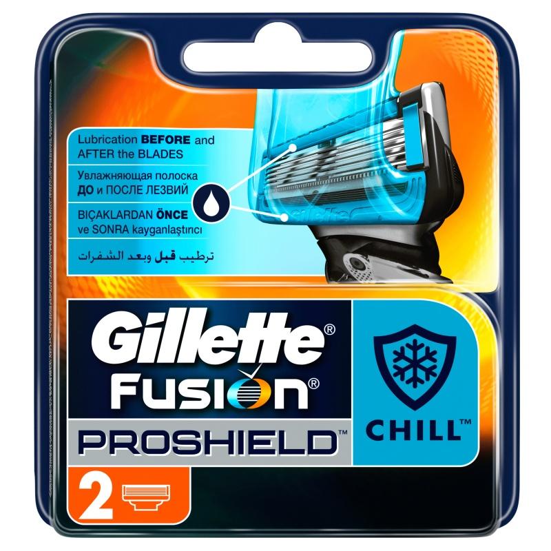Сменные кассеты для бритв Gillette лезвия Fusion ProShield Chill (4шт)
