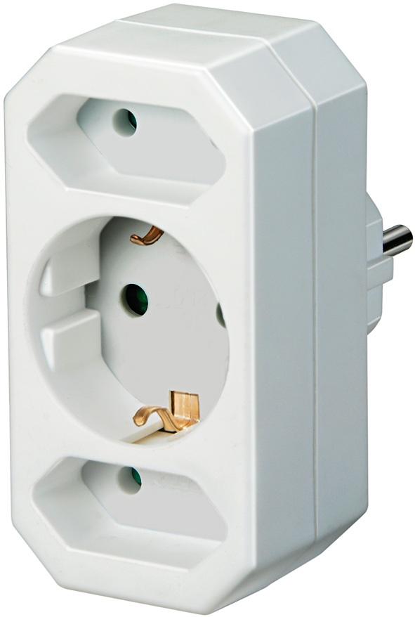 Переходник Brennenstuhl 1508050 сетевой соединитель с 1 на 2 розетки + 1 розетка с заземлением, белый, белый