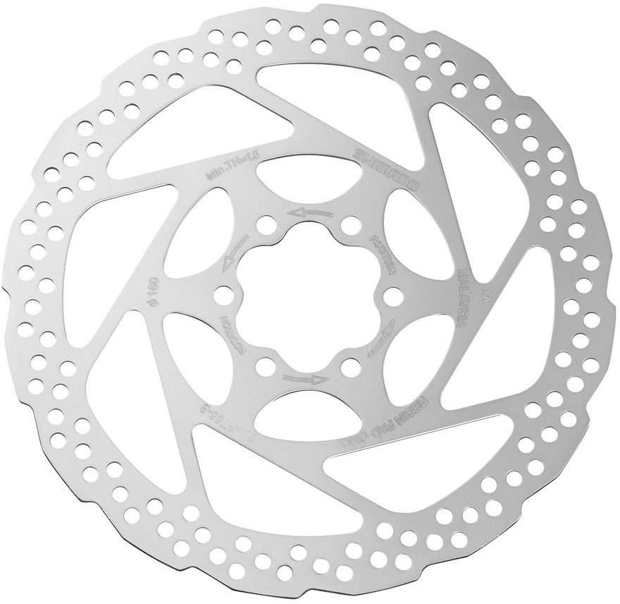 Тормозной диск для велосипела Shimano RT56, 160 мм, 6-болт, только для пластиковых колодок, ESMRT56S тормозной диск shimano deore rt64 203 мм