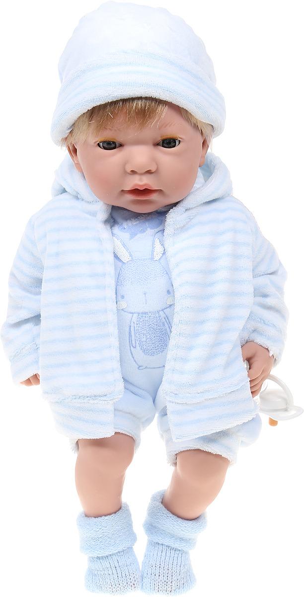 Пупс Arias Elegance, в одежде, с закрывающимися глазами, с соской, Т16355, голубой, 38 см пупс arias elegance в одежде с соской и конвертом 42 см т11098