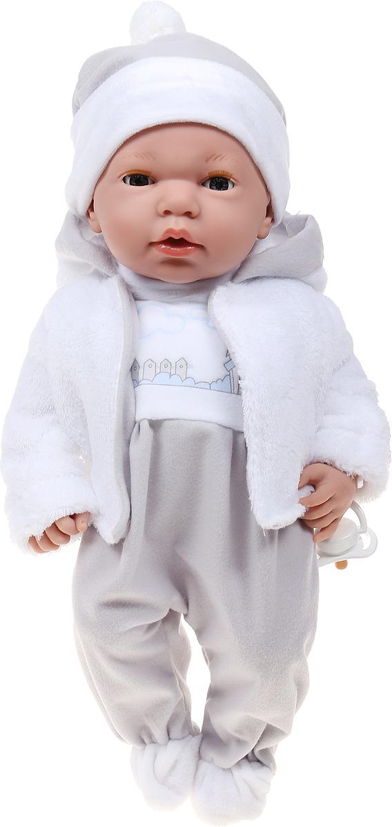 Пупс Arias Elegance, в одежде, с закрывающимися глазами, с соской, Т16349, серый, 38 см пупс arias elegance в одежде с соской и конвертом 42 см т11098