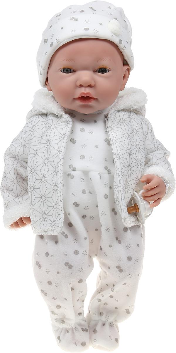 Пупс Arias Elegance, в одежде, с закрывающимися глазами, с соской, Т16350, серый, 38 см пупс arias elegance в одежде с соской и конвертом 42 см т11098