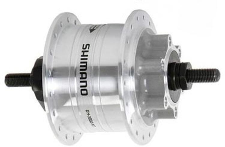 Втулка задняя Shimano динамо 3D32, 36 отверстий, 6V-3W, под гайки, диск под 6 болт., с SM-DH10, EDH3D32DSG, серебристый цена
