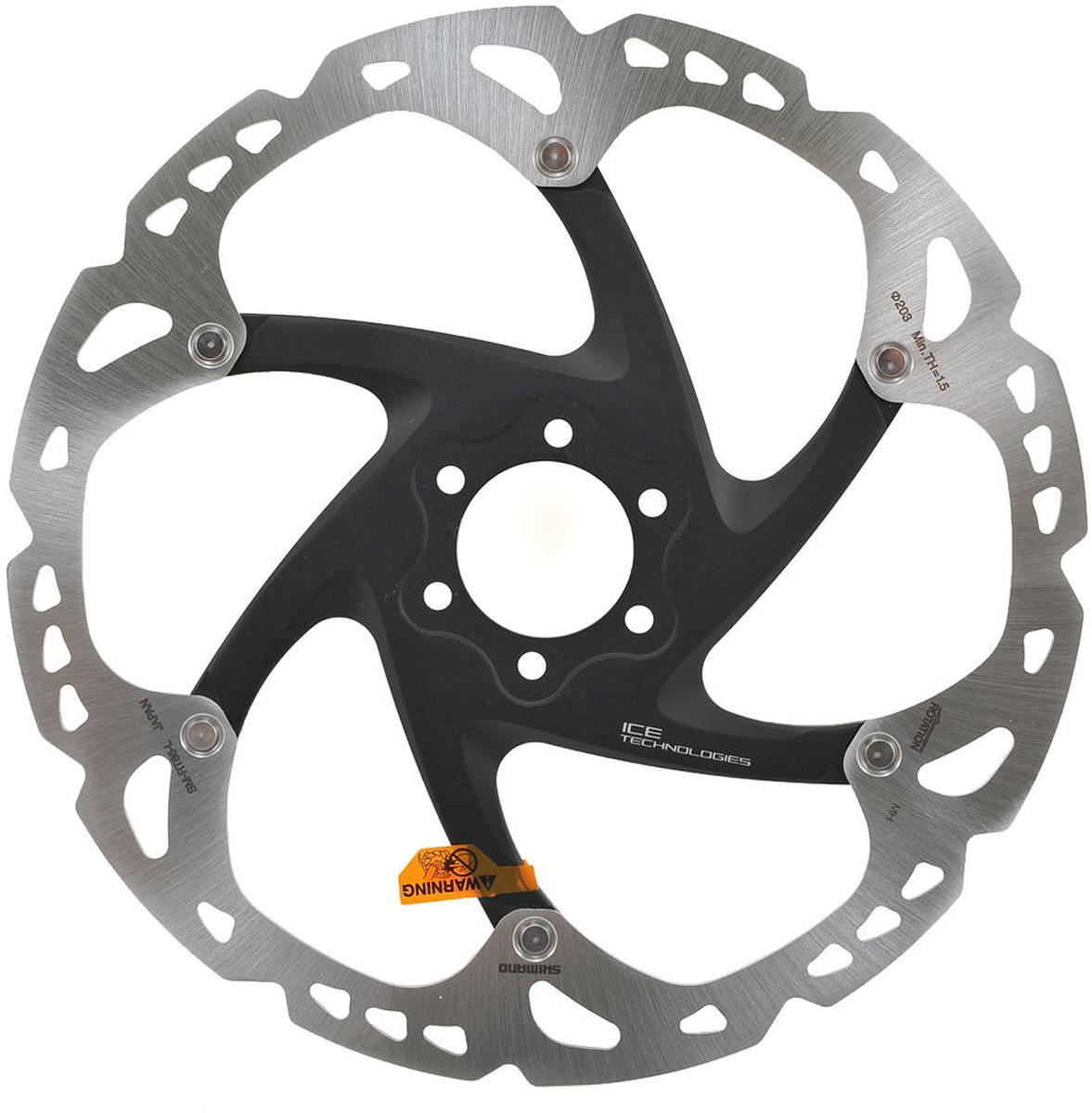 Тормозной диск для велосипела Shimano XT, RT86, 203 мм, 6-болт, ISMRT86L2 тормозной диск shimano deore rt64 203 мм
