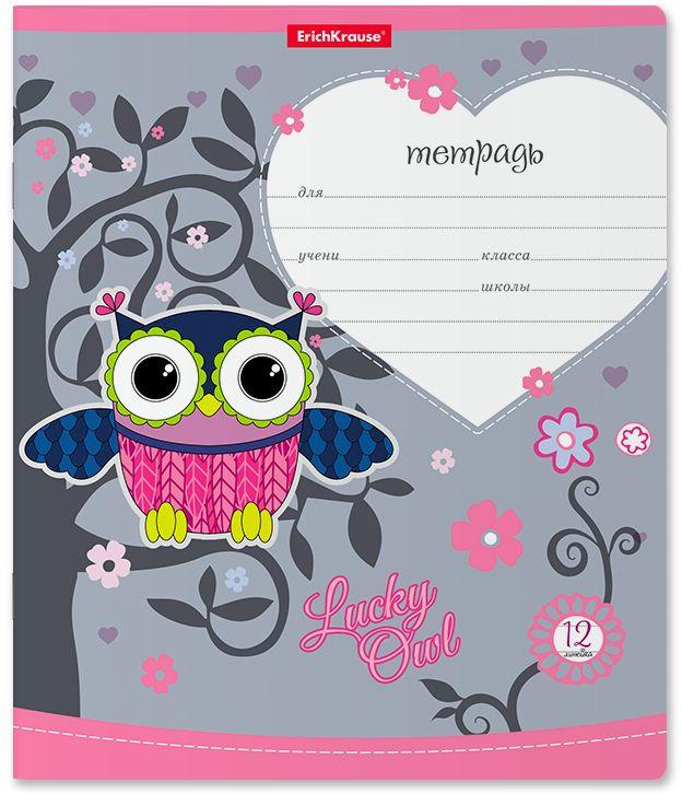 Тетрадь школьная ErichKrause Lucky Owl, A5+, в линейку, 42558, мультиколор, 12 листов х 10 шт ErichKrause