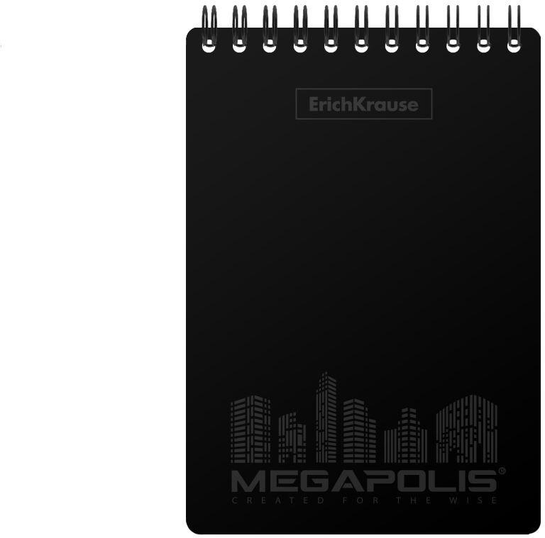 Блокнот ErichKrause Megapolis, на спирали, A6, в клетку, 45942, черный, 80 листов блокнот pierre cardin lois blanc цвет золотистый черный a5 80 листов в клетку