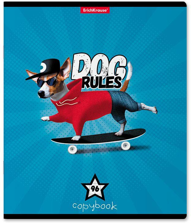 Тетрадь общая ErichKrause Dog Rules, A5+, в клетку, 46674, мультиколор, 96 листовх 5 шт