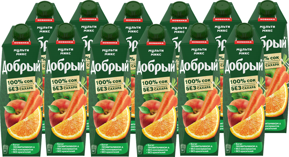 Сок Добрый из яблок, апельсинов, персиков и моркови, обогащенный провитамином А, 12 шт по 1 л добрый сок яблоко персик 0 2 л