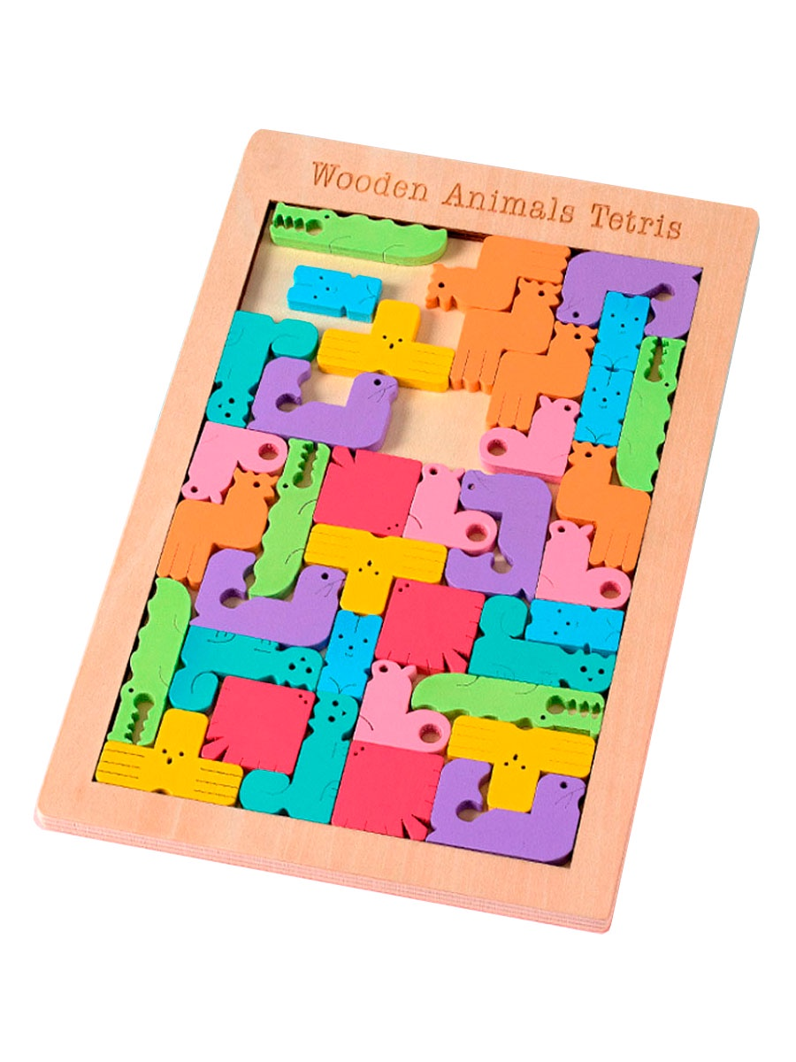 """Головоломка BeeZee Toys Настольная логическая деревянная игра пазл """" ЗОО Тетрис"""", 40 деталей животных разноцветный"""