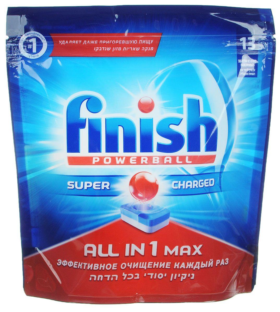 Таблетки для посудомоечных машин Finish All in 1 max, 13шт таблетки для посудомоечных машин clean