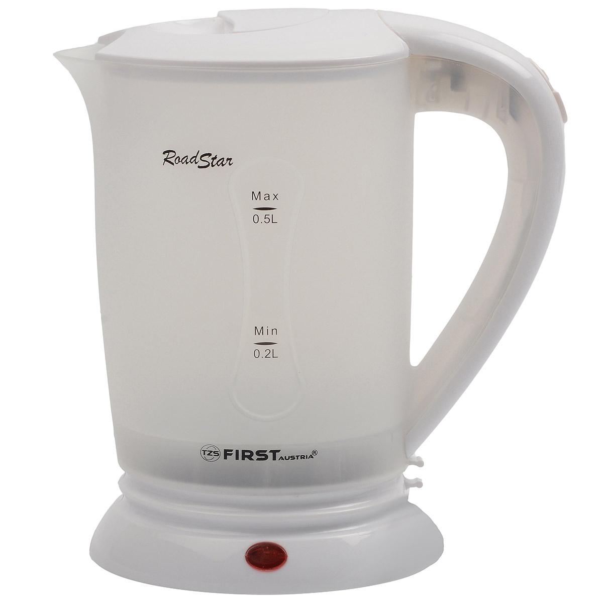 Электрический чайник FIRST FA-5425-2-WI чайник first fa 5427 8 bu 2200 вт белый синий 1 7 л пластик