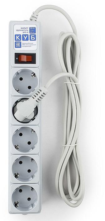 Сетевой фильтр Powercube SPG-B-10 5 розеток, 3 м, 607257, серый