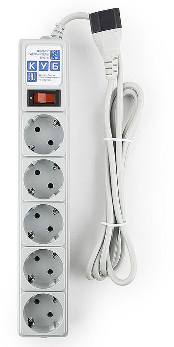 Сетевой фильтр Powercube SPG-B-6Ext 5 розеток, 1.9 м, серый