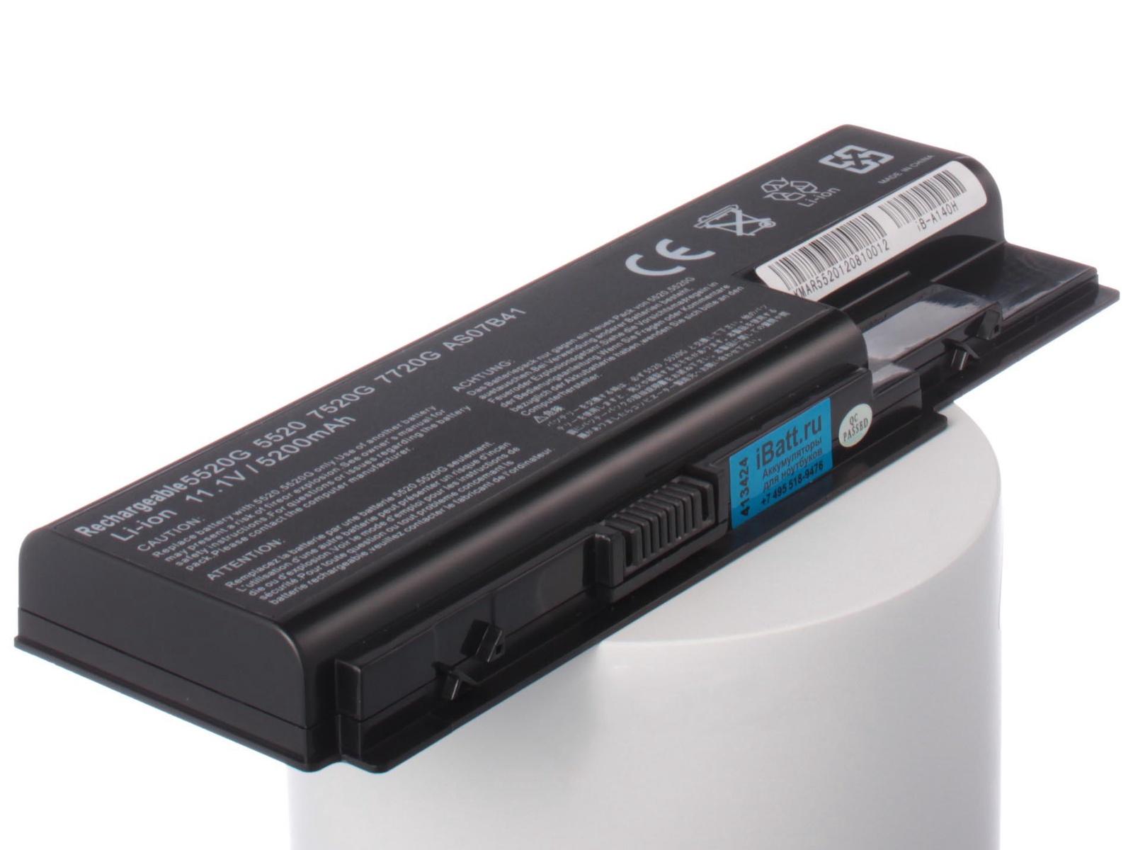 Аккумулятор для ноутбука iBatt для Acer Aspire 5925G, Aspire 5930G-844G32BN, Aspire 7720Z-1A2G16MI, Aspire 7720ZG-2A2G25Mi, Aspire 7738G-904G100Bi, Aspire 8920G-6A4G32BN, Aspire 8935G-654G32Mi, Aspire 8942G-434G50Mi 8cell 14 8v as07b31 original laptop battery for acer aspire as07b32 5520 5720 5920g 5930g 6920g 6930g 7520g 7330 5930g as07b51