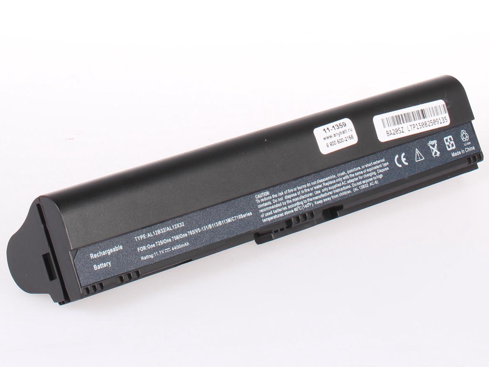 Аккумулятор для ноутбука AnyBatt для Acer Aspire V5-571, Aspire One 725, Aspire One 756, Aspire V5-122p, Aspire V5-131, Aspire V5-121, TravelMate B113, Aspire One AO756, Aspire V5-431, Aspire V5-471, Aspire One 756-877B1kk зарядное устройство для нетбука topon top ac04 acer aspire one zg8 kav10 756 d255 d370 series 19v 1 58a 30w коннектор 5 5 на 1 7 мм