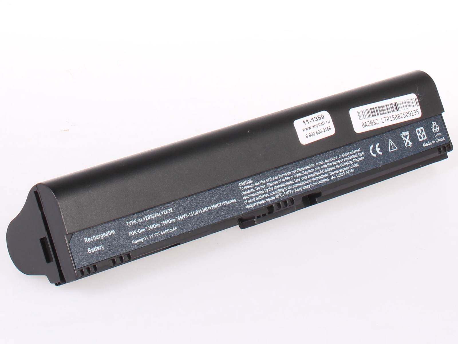 Аккумулятор для ноутбука AnyBatt для Acer Aspire V5-121-C72G32n, Aspire V5-571-323b4G32Mass, Aspire One AO756-877B1bb, Aspire One 756-877B1ss, Aspire V5-571PGB-33214GB50Mass, Aspire V5-431P-987B4G50Ma, Aspire V5-171-53314G50ass