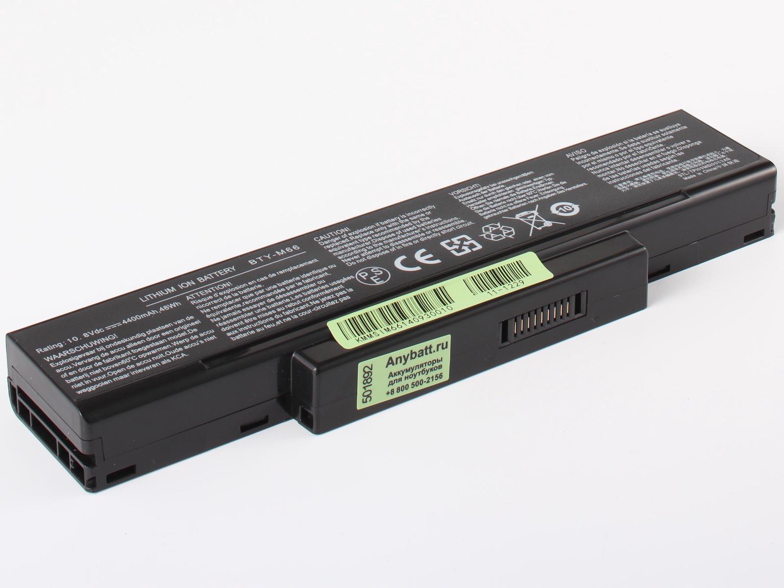 Аккумулятор для ноутбука AnyBatt для MSI GX400, EX720, GX610, M655, EX620, PR620, VR630, CX420-219, GX720, GT72S 6QF, CX410, CX413, CR460, GT72S 6QD, GE603, GX633, M677, GT72S 6QD Dominator G, M673, GT735, EX623, EX460X