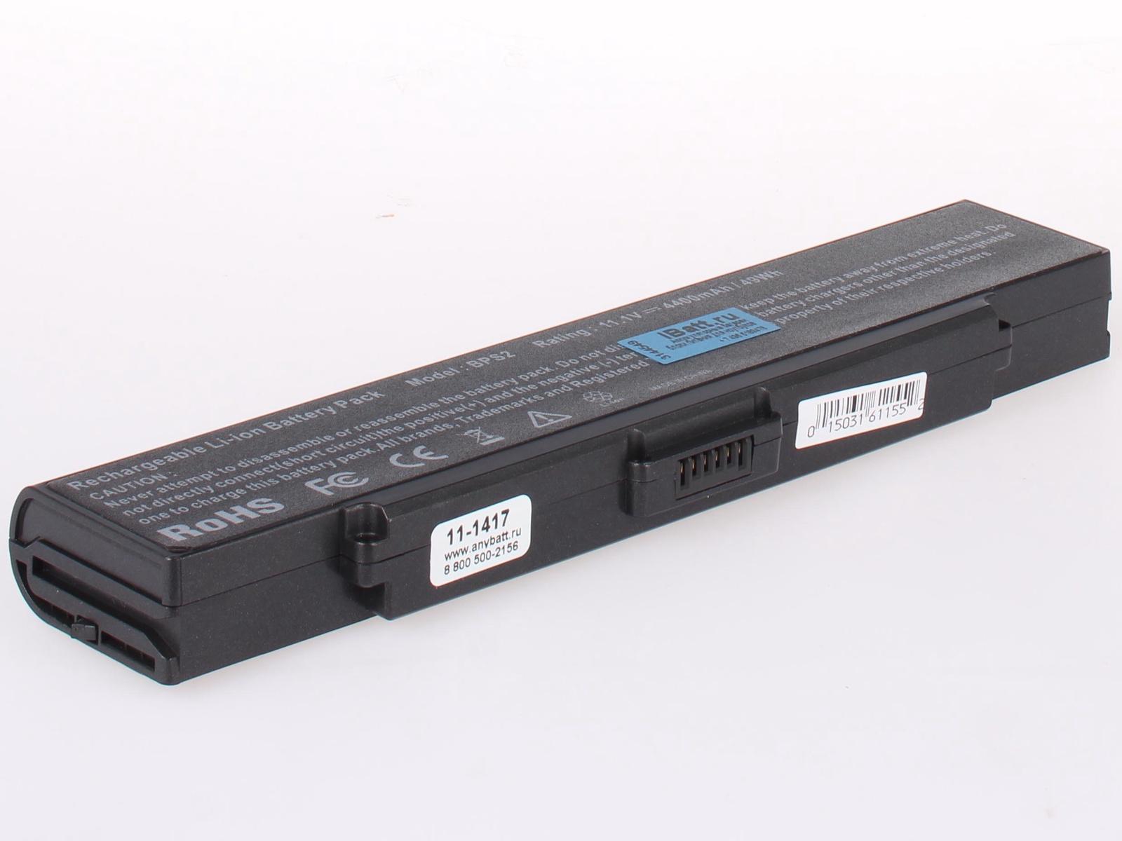 Аккумулятор для ноутбука AnyBatt для Sony VAIO VGN-N11, VAIO VGN-N130G, VAIO PCG-7K1L, VAIO PCG-7T2M, VAIO PCG-7V1M, VAIO VGN-AR190G, VAIO VGN-FS115MR, VAIO VGN-FS315H, VAIO PCG-6C2L, VAIO VGN-AR70B, VAIO VGN-FE11MR аккумулятор topon top bps9 nocd 11 1v 5200mah для pn vgp bps9a b vgp bps9 b vgp bps9 s vgp bpl9 vgp bps10
