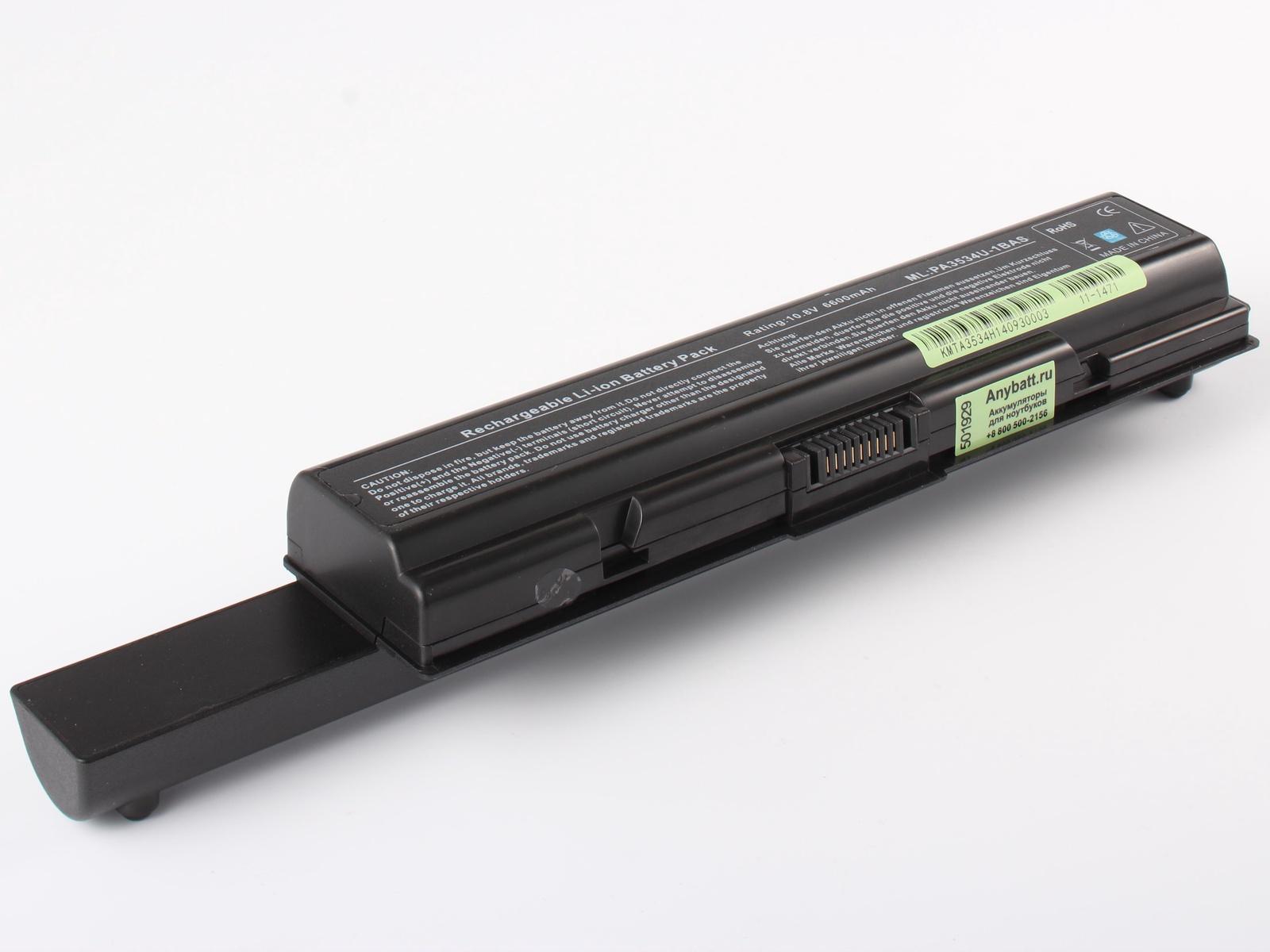 Аккумулятор для ноутбука AnyBatt для ToshiBa Satellite A300-22X, Satellite A205-S4707, Satellite A305-S6905, Satellite A350-22J, Satellite A350D-200, Satellite L450-18P, Satellite A300-1G2, Satellite L300D-245, Satellite A200-1S5