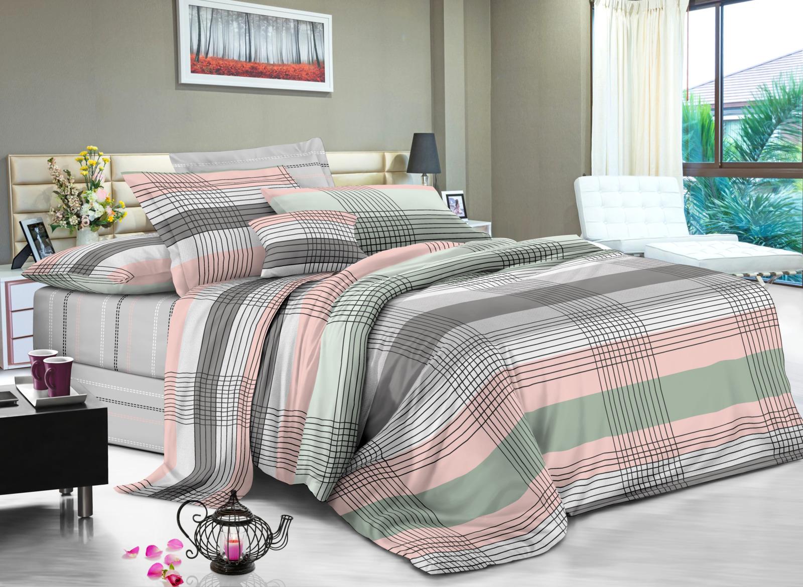Комплект постельного белья Amore Mio Gold Assai, 9356, разноцветный, 2-спальный, наволочки 70x70