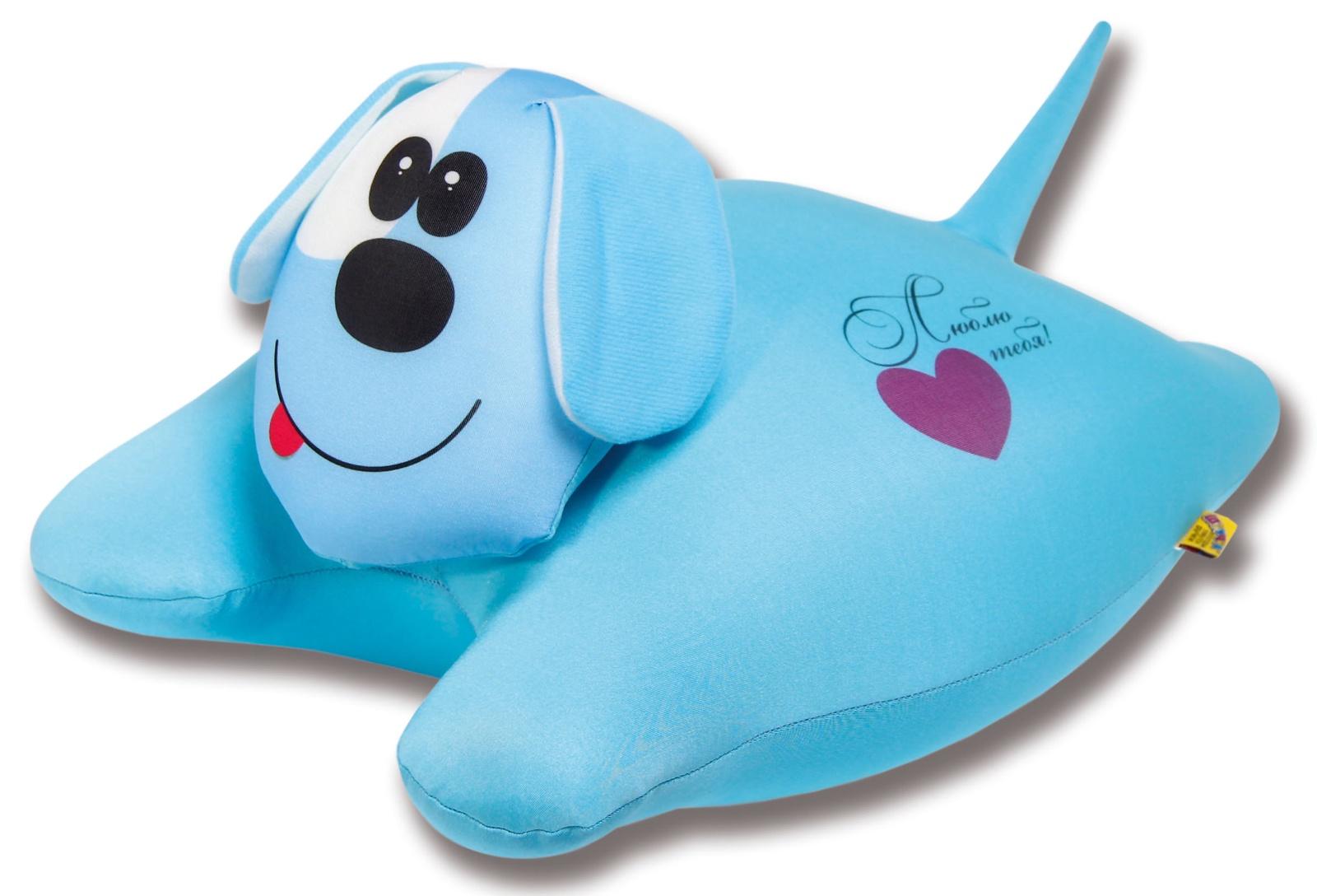 Подушка-игрушка антистрессовая Собачка сердечная, голубой