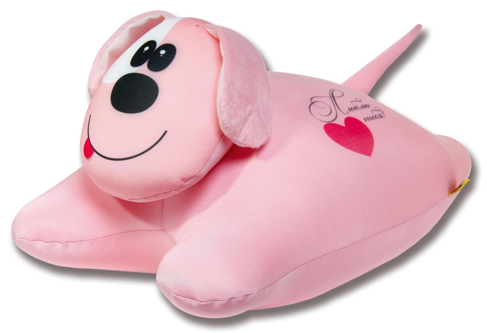 Подушка-игрушка антистрессовая Собачка сердечная, розовый