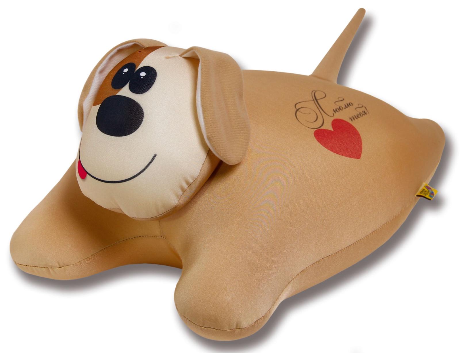 Подушка-игрушка Штучки, к которым тянутся ручки антистрессовая Собачка сердечная, бежевый
