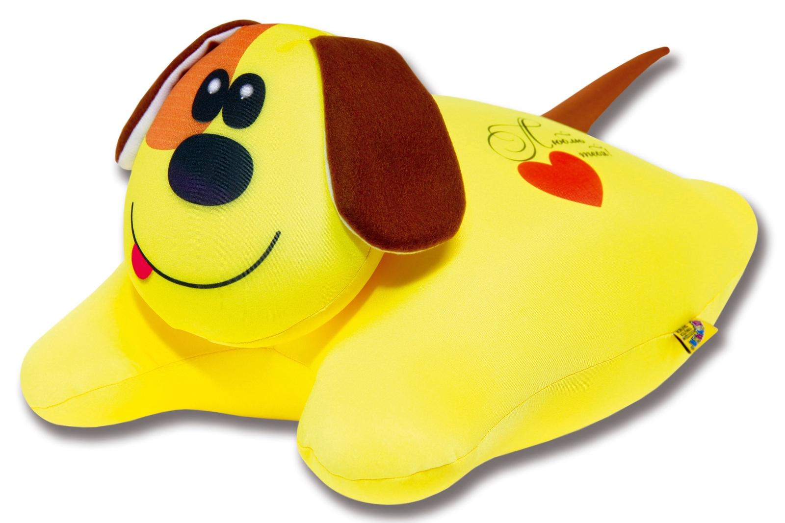 Подушка-игрушка Штучки, к которым тянутся ручки антистрессовая Собачка сердечная, желтый