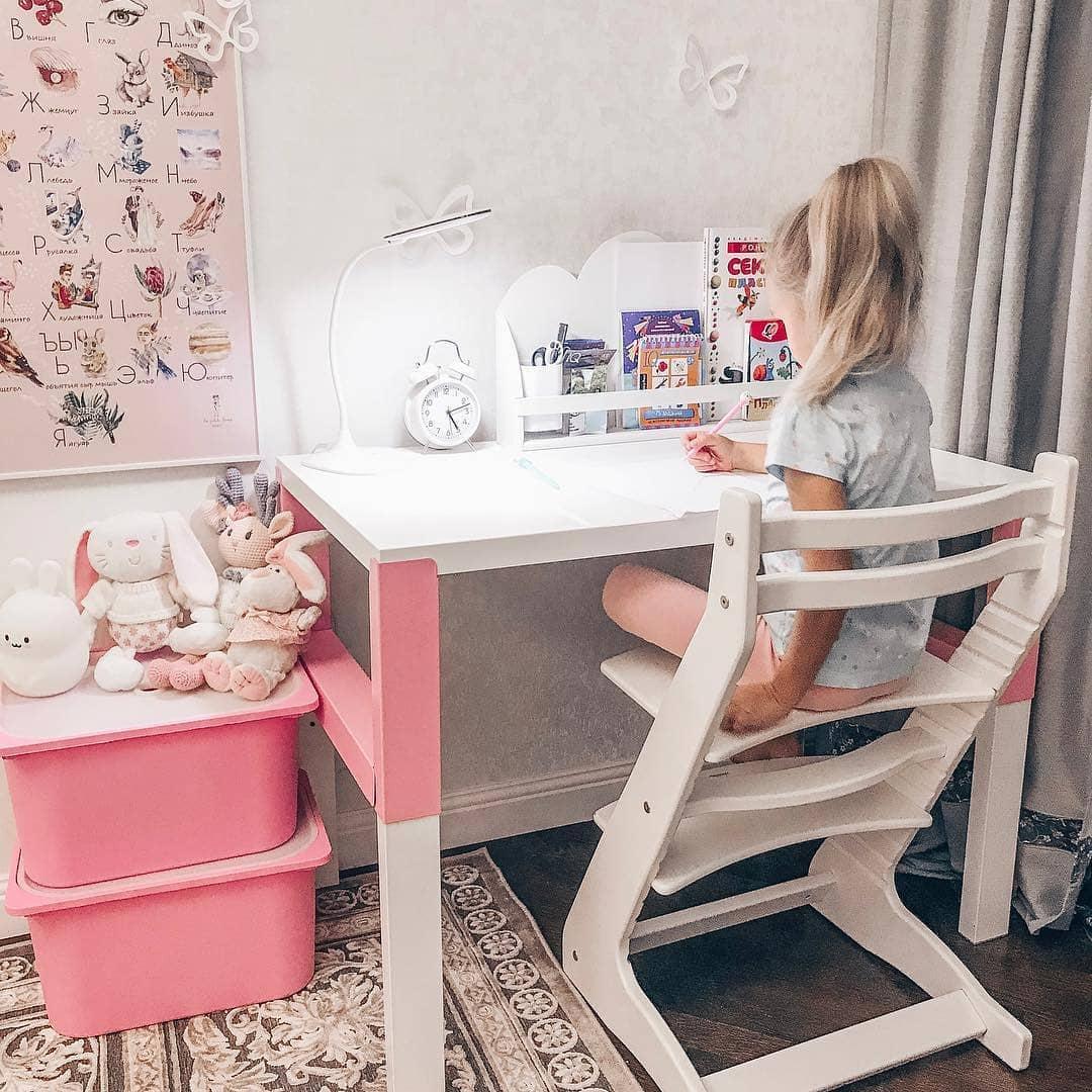Растущий регулируемый стул. Детский стульчик для кормления Вырастайка - белый