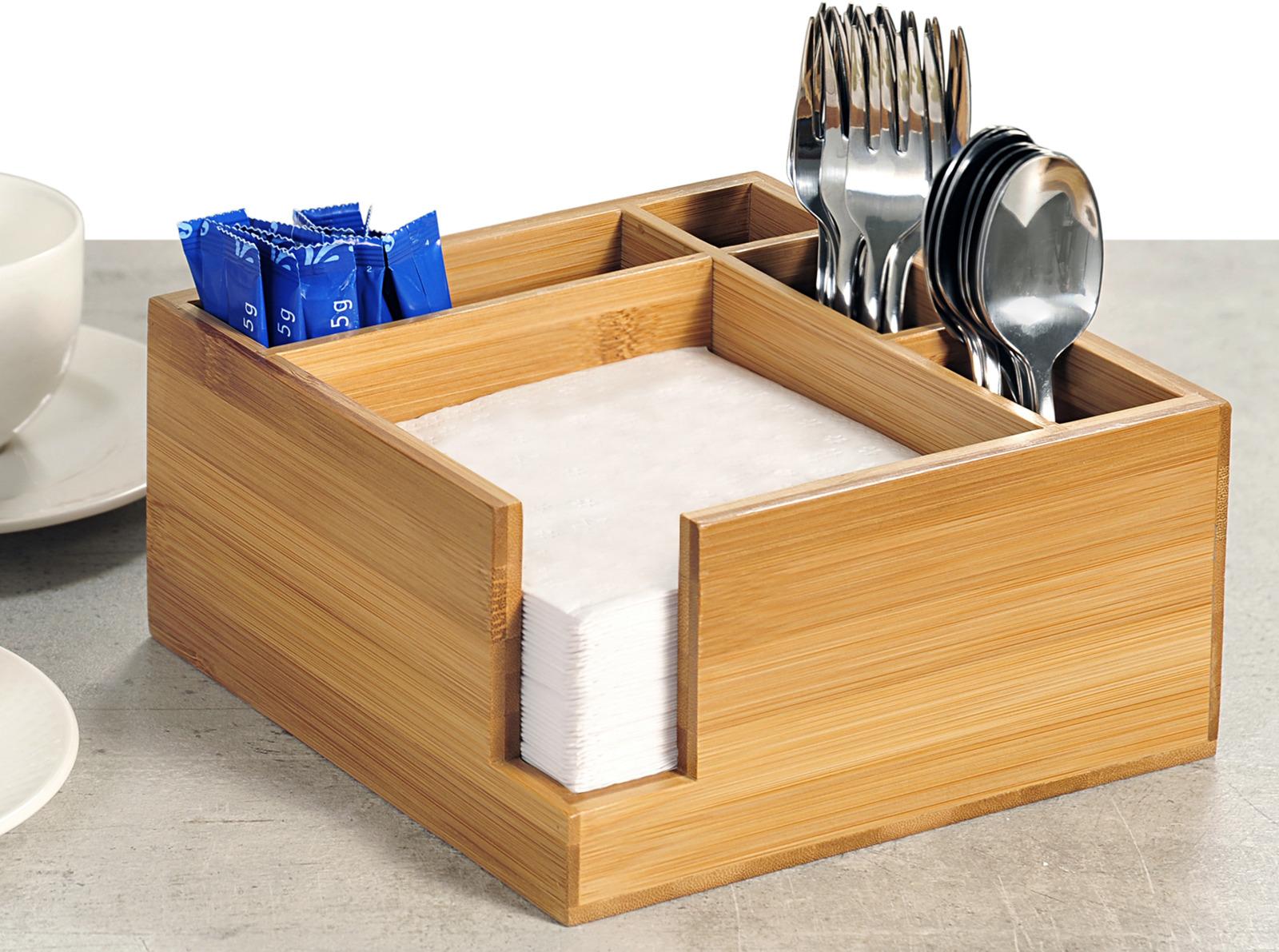 Подставка для сервировки столовых приборов Kesper, 7085-1, светло-коричневый, 18 х 18 х 9 см подставка для столовых приборов kesperd с ручками цвет коричневый 38 х 32 х 4 см