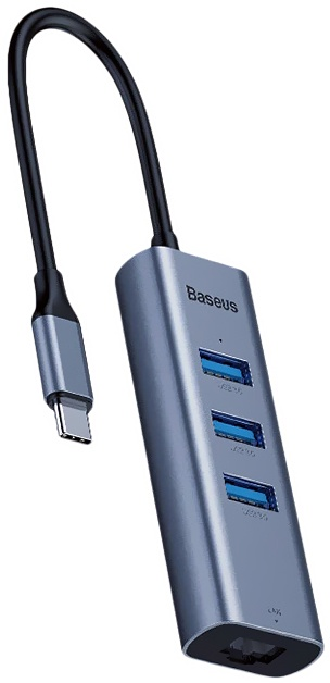 Адаптер-переходник Baseus Enjoy series Type-C to USB3.0x3+RJ45 port HUB adapter, серый