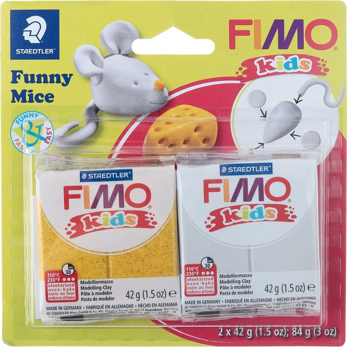 Глина полимерная Fimo Kids Kit Веселая мышка, 8035 11, 2 цвета