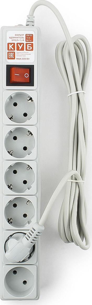 Сетевой фильтр Powercube SPG(5+1)-B-10, 6 розеток, 3 м, серый