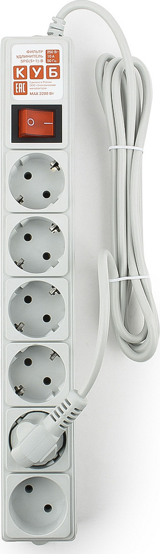 Сетевой фильтр Powercube SPG(5+1)-B-6, 6 розеток, 1,9 м, серый