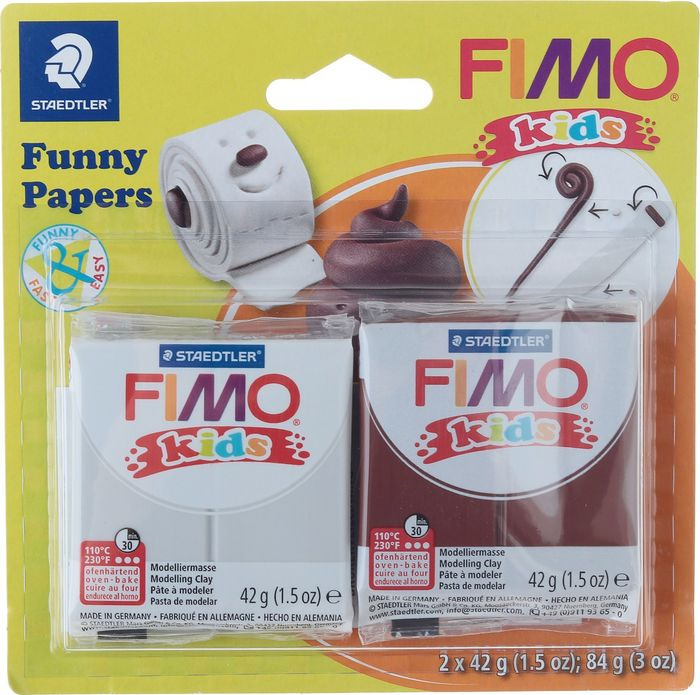 Глина полимерная Fimo Kids Kit Веселая бумажка, 8035 17, 2 цвета