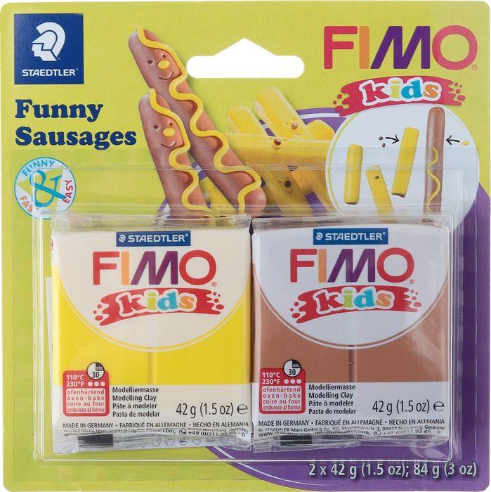 Глина полимерная Fimo Kids Kit Веселые колбаски, 8035 16, 2 цвета